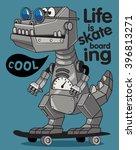 skater  robot dino vector design | Shutterstock .eps vector #396813271