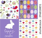 set of cute seamless easter... | Shutterstock .eps vector #396818851