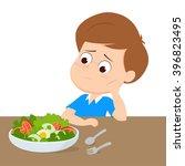 kid sad with your breakfast... | Shutterstock .eps vector #396823495