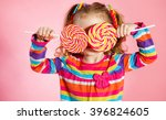 funny child with candy lollipop ... | Shutterstock . vector #396824605