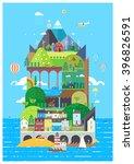mediterranean island. tourist... | Shutterstock .eps vector #396826591