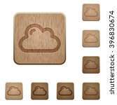 set of carved wooden cloud...