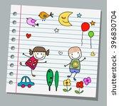 notebook paper happy summer day | Shutterstock .eps vector #396830704