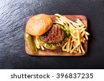 hamburger with vegetables and... | Shutterstock . vector #396837235