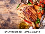 grilled meat with vegetables on ... | Shutterstock . vector #396838345
