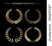 set of  luxury golden wreaths... | Shutterstock .eps vector #396839287