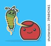 dental floss caught bacteria.... | Shutterstock .eps vector #396842461