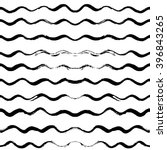 Seamless pattern with hand drawn waves. Abstract background with wavy brush strokes. Black and white texture. Ornamental print for t-shirts. Ornament for wrapping paper.   Shutterstock vector #396843265