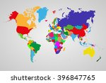 colored  political world map... | Shutterstock .eps vector #396847765