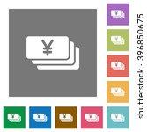 yen banknotes flat icon set on...