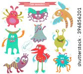 cute monsters. nice monster set ... | Shutterstock .eps vector #396856201