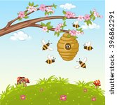 illustration of bee flying... | Shutterstock .eps vector #396862291