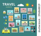 Travel Europe England Italy France Austria Switzerland Ukraine. Picture gallery vector template flat style. Tourism sightseeing POI landmark world famous places. Vacation city country collection.