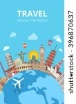 travel around the world... | Shutterstock .eps vector #396870637