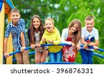 happy excited kids having fun... | Shutterstock . vector #396876331