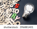 light bulb and scattered wood... | Shutterstock . vector #396881401