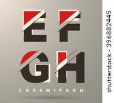 alphabet font template. set of... | Shutterstock .eps vector #396882445