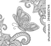 coloring pages for adults... | Shutterstock .eps vector #396883744