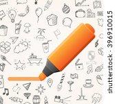 orange marker with set of... | Shutterstock .eps vector #396910015
