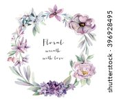 watercolor floral wreath | Shutterstock . vector #396928495