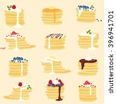 yummy pancakes  | Shutterstock .eps vector #396941701
