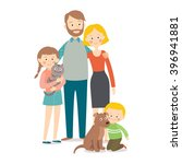 happy family with pets. cartoon ... | Shutterstock .eps vector #396941881
