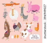 cute farm animals on a pink... | Shutterstock .eps vector #396949027
