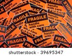 a background of orange fragile