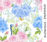 Stock photo seamless pattern bird pink rose and butterfly watercolor 396959545