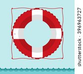 lifebuoy icon in flat style... | Shutterstock .eps vector #396963727