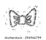 people in the shape of a bow... | Shutterstock . vector #396966799