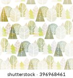 watercolor trees seamless... | Shutterstock . vector #396968461