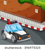 police car on the road... | Shutterstock .eps vector #396975325