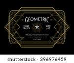 Vintage linear thin line geometric shape art deco retro design frame badge | Shutterstock vector #396976459