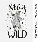 hand drawn dancing bear. vector ... | Shutterstock .eps vector #396992605