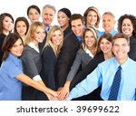 large group of young smiling... | Shutterstock . vector #39699622