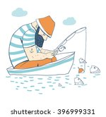 fisherman in a boat fishing ... | Shutterstock .eps vector #396999331