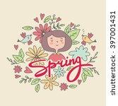 cute cartoon spring girls print | Shutterstock .eps vector #397001431