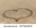 Shape Of Heart On Sandy Beach ...