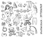 collection of black and white... | Shutterstock .eps vector #397006969