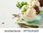 Stock photo colorful ive cream scoops in white bowl copy space 397014265