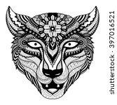 leopard line art design for... | Shutterstock .eps vector #397016521