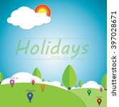 vector natural landscape a... | Shutterstock .eps vector #397028671