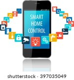 smartphone with smart house... | Shutterstock .eps vector #397035049