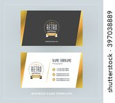 golden and black business card... | Shutterstock .eps vector #397038889