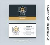 golden and black business card... | Shutterstock .eps vector #397038991