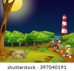 children riding bike in the... | Shutterstock .eps vector #397040191