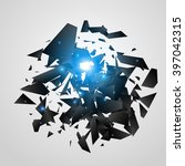 abstract black explosion.... | Shutterstock .eps vector #397042315