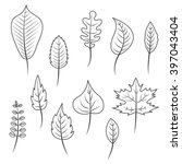 outlined black and white leaves ... | Shutterstock .eps vector #397043404