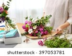Woman Making A Flower Bouquet